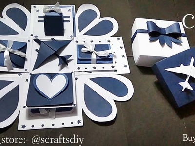 Explosion Box ???? | #4 | Handmade gift ideas | for him | Special gift ideas | S Crafts | Blue & White