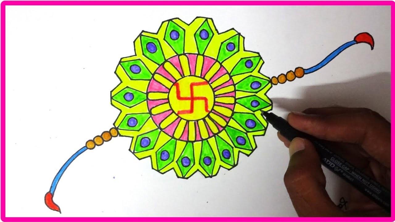 Happy rakshabandhan ! How to draw abstract vector illusion handmade rakhi  creative design #2