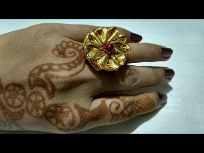 How to make gota flower ring.gota flower ring.gota jewelry making ring