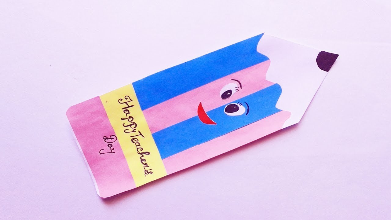 Teacher's Day Card | How to make Pencil Shape Teacher's Day Card | Handmade Greeting cards for kids