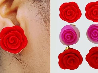 ক্লে দিয়ে কানের দুল তৈরি || Easy flower Earrings Make with Handmade Clay. Jewellery making