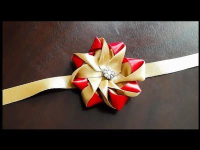 Unique & Easy Ribbon flower Rakhi   Handmade Rakhi designs
