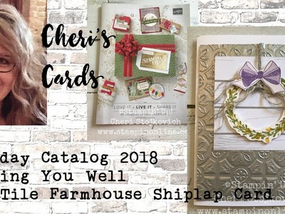 Wishing You Well Tin Tile Farmhouse Shiplap Handmade Greeting Card Stampin Up Holiday 2018 Catalog