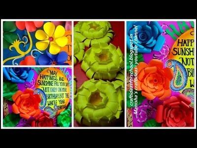 3 easy paper flowers, paper flowers, big paper flower tutorial, big paper flower decoration ideas