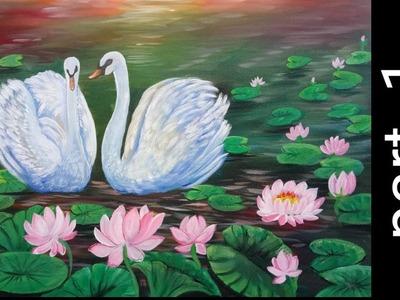 A Beautiful Swan Pair Painting Part - 1 | Acrylic Painting Tutorial