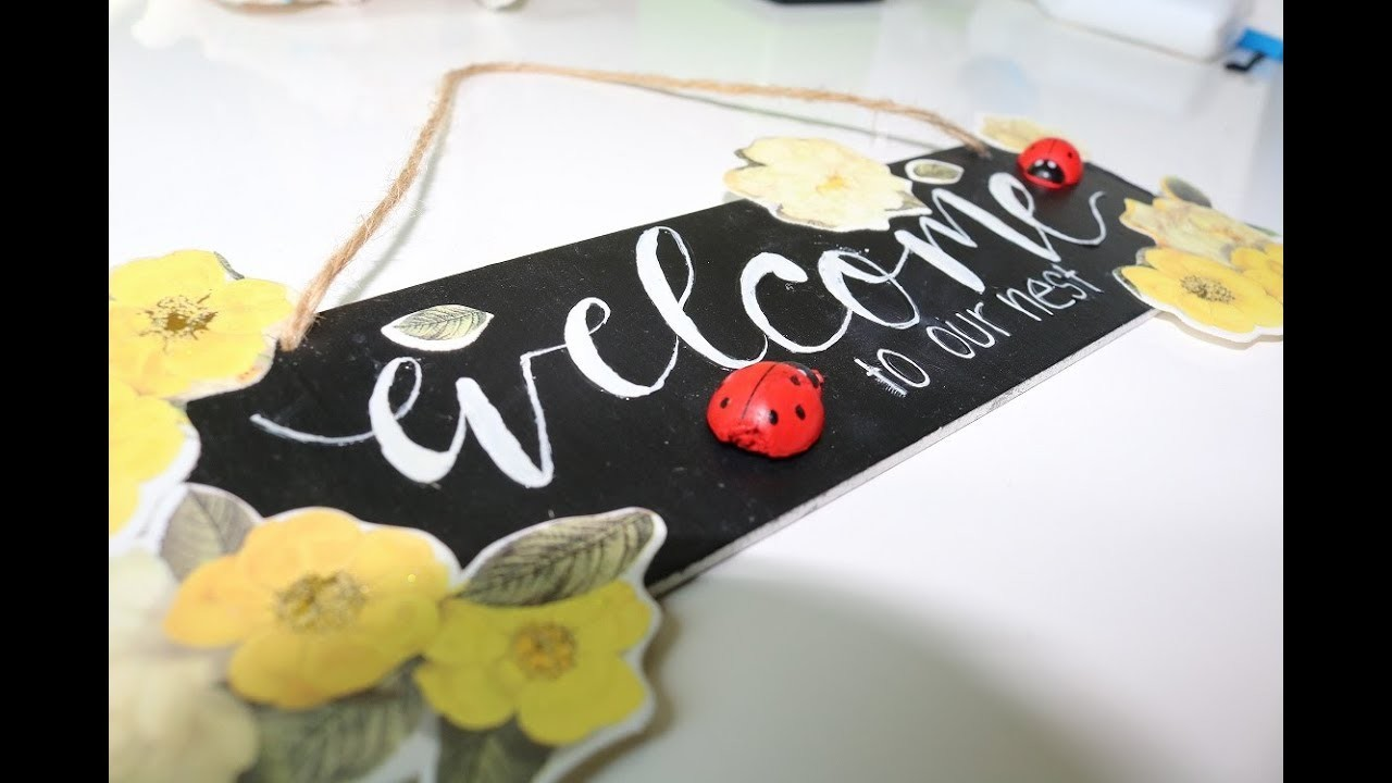 DIY Chalkboard | How to make a Welcome Signboard. Door Hanging for your home for Kids