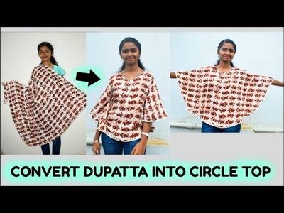 DIY: Convert Dupatta.Scarf.Saree Into Circle Top in 15 Minutes No Sew DIY  Arpana