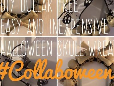 DIY Dollar Tree Easy and Inexpensive Halloween Skull Wreath Collaboween