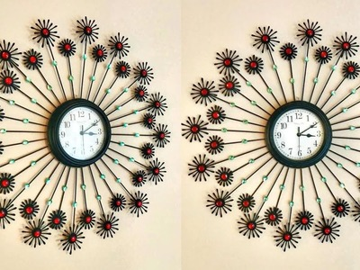 DIY Floral Designer Wall Clock using cotton buds. Home Decoration Ideas