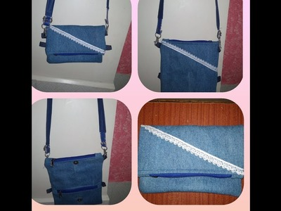 DIY Foldover Clutch cumTwo types of Sling Bag.  Use of old Jeans into new bag