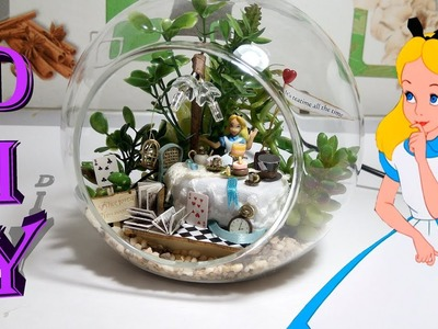 DIY Miniature Alice Forest dollhouse with working light in glass ball!!!