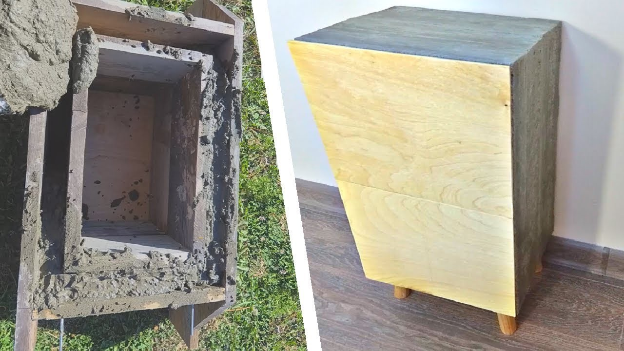 Diy Nightstand From Concrete Scrap Wood Projects