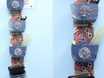 DIY Organizer from Old Jeans & Plastic Bottle | Home Organization Ideas