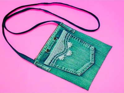 DIY Purse Bag Using Old Jeans  Recycling No Sew Purse | AsnieLife ❤
