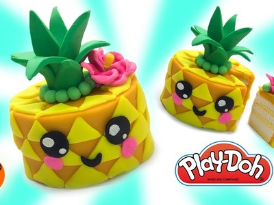 Dolls Food. Play Doh Cakes. Kawaii Pineapple Cake. Learn Colors. DIY for Children. Easy DIY for Kids