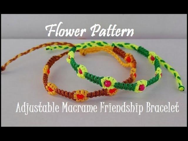 flower pattern macrame friendship bracelet tutorial