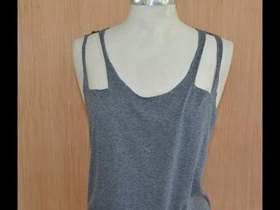 Grey Cutout Shirt DIY