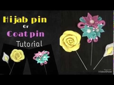 Hijab pin. Scarf pin tutorial || How to make Clay flowers coat pin at home