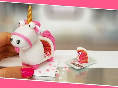Mini FLUFFY UNICORN cake.real cake. Jenny's mini cooking. DIY. unicorn love tiny
