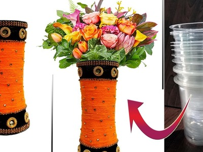 Reuse Waste Disposable Glasses || Amazing DIY  Flower Vase with Disposable glasses