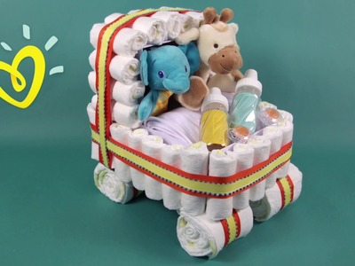 Stroller Diaper Cake   Pampers Baby Shower DIY Ideas