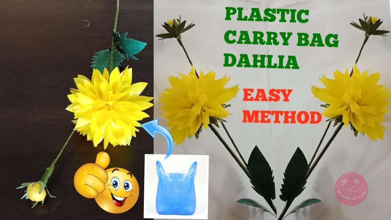 Thick plastic carry bag dahlia with bud DIY   Easy method   Dahlia DIY