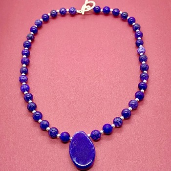Amethyst Bead Necklace with Purple Agate Pendant