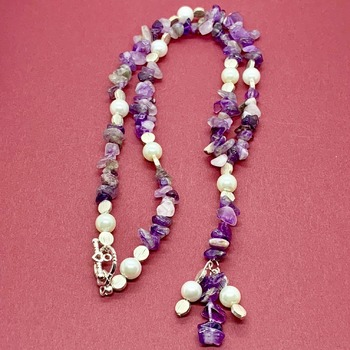 Amethyst Chip and Pearl Y Necklace
