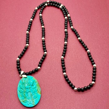 Black Jasper Bead and Silver Bead Necklace with Carved Turquoise Pendant