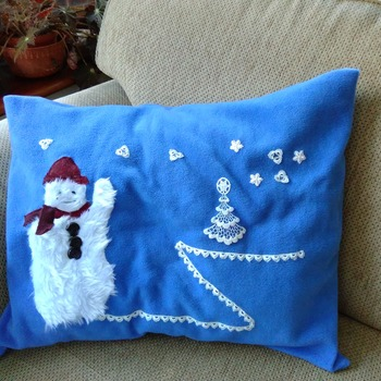 Blue fleece snowman scene pillow cushion