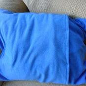 Blue fleece snowman scene pillow cushion
