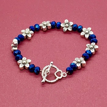 Blue Iridescent Bead and Antique Silver Flower Bead Bracelet