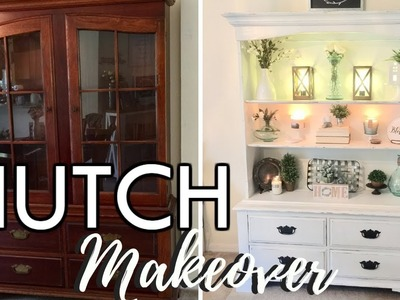 DIY HUTCH MAKEOVER. HOW TO CHALK PAINT FURNITURE. RUSTIC FARMHOUSE STYLE. IN WITH JEN