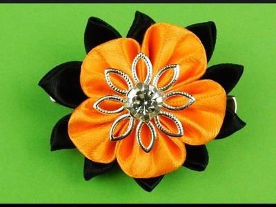 DIY | Kanzashi Ribbon Barrette | Halloween Hair Accessories | Halloween Stoff Haarspange