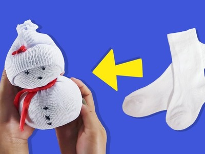 DIY SOCKS SNOWMAN: HOW TO MAKE DOLL, SOCKS CRAFTS, DIY SOCKS SNOWMAN IDEA, Muñeco de nieve