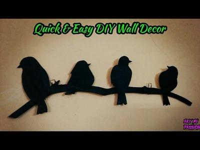 DIY Wall Hanging Craft Ideas   Diy Wall Decor   Quick & Easy Bird Wall Hanging   artmypassion