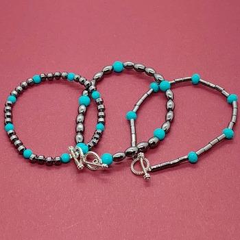 Hematite Bead and Turquoise Bead Bracelet Trio
