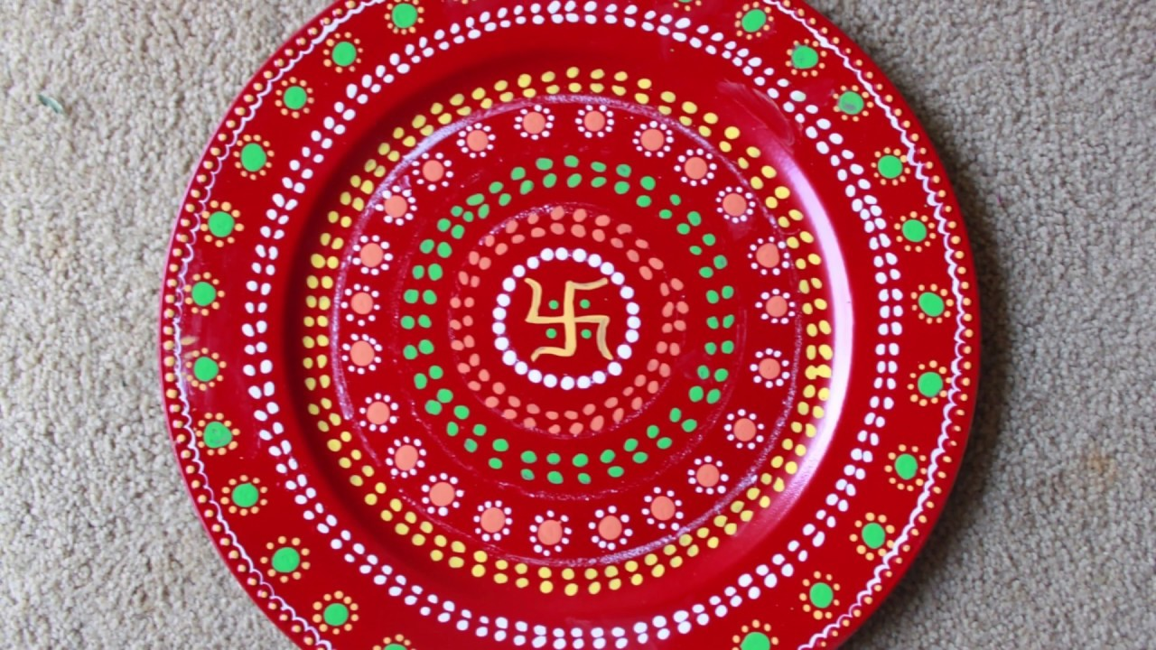How to make Decorative Pooja Aarati Thali.How to decorate charger plate