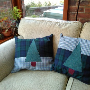 Pair of green check cushions with applique Christmas trees