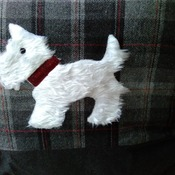Pure wool tartan grey/red cushion with scottie dog applique