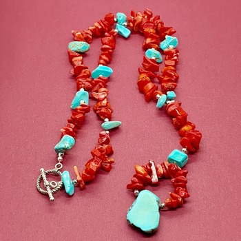Red Coral Chip and Turquoise Chip Y Necklace