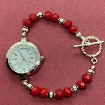 Red Faceted Bead and Antique Silver Bead Watch