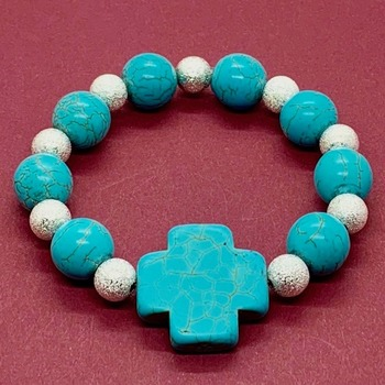 Turquoise Bead and Silver Stardust Bead Stretchy Bracelet