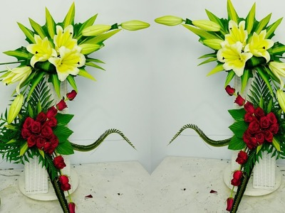 DIY Floral Arrangements for Church  Yellow Lily Flower,RED ROSE,Eps 20