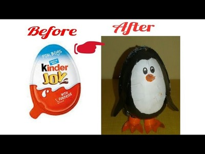 DIY. How to make penguine from kinder joy pouch.