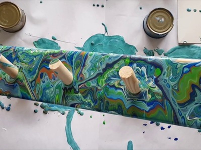 222 Painting a FUNKY Coat Rack using Acrylic Pouring 3D SOLD