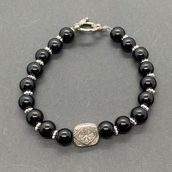 Black Jasper Bead and Antique Silver Bead Bracelet