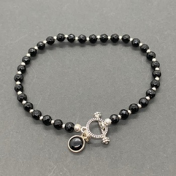 Black Jasper Bead Bracelet with Black Jasper Charm