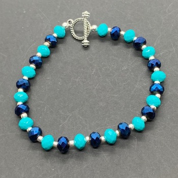 Blue Faceted and Turquoise Faceted Bracelet