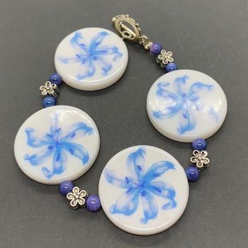Blue Flower Bead and Silver Flower Bead Bracelet